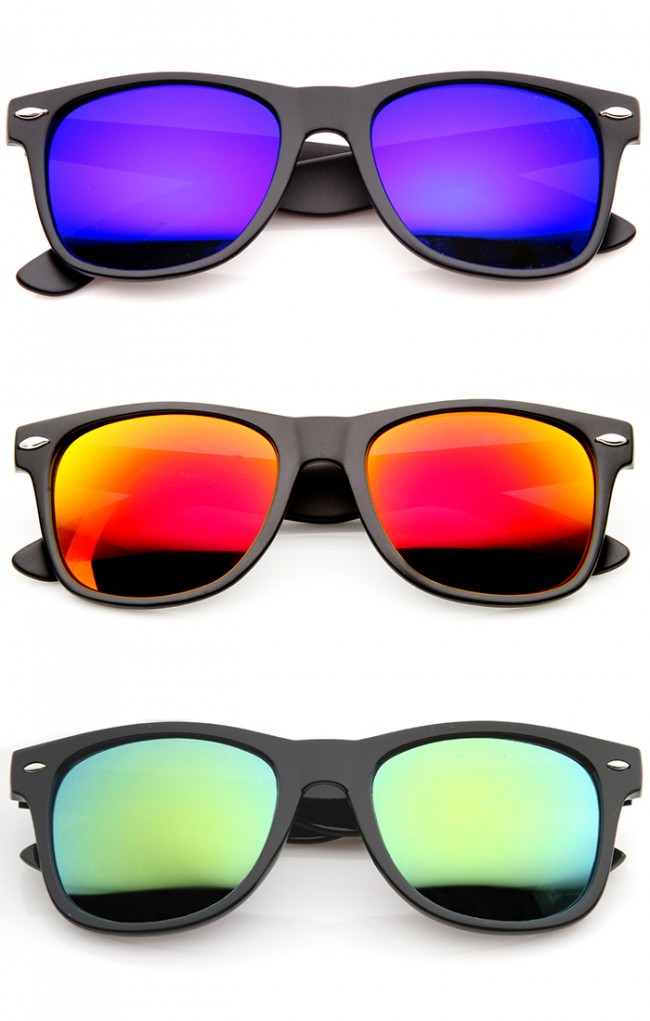 0df5f772c43 Flat Matte Reflective Mirror Color Lens Large Horn Rimmed Style Sunglasses  - UV400 · Zoom