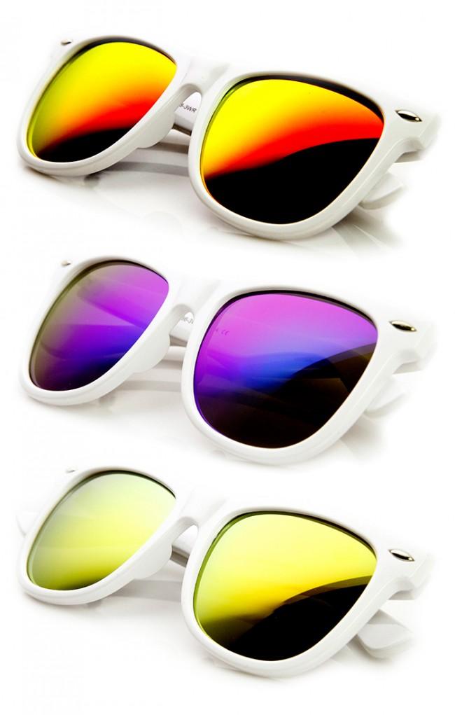 Oversized Mod White Frame Flash Mirror Lens Horn Rimmed Sunglasses