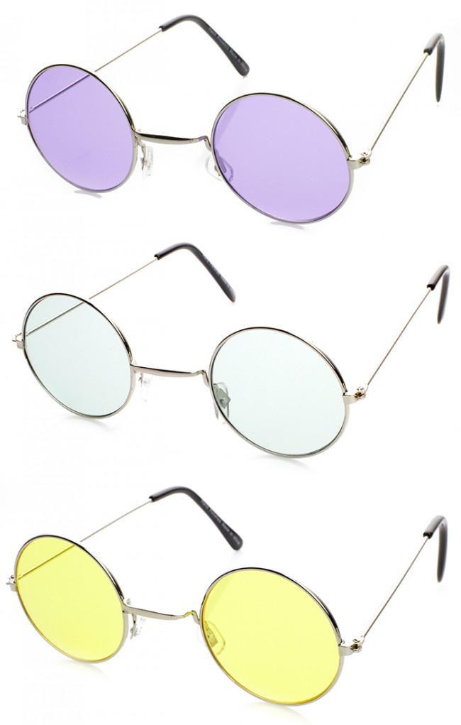 c6ae3c1a70a Classic Small Metal Lennon Style Color Tinted Round Sunglasses. Zoom
