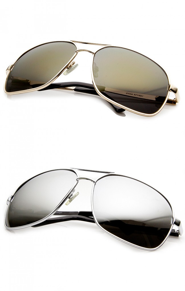 0007a2567f Premium Quality Metal Oversized Mirrored Lens Aviator Sunglasses. Zoom