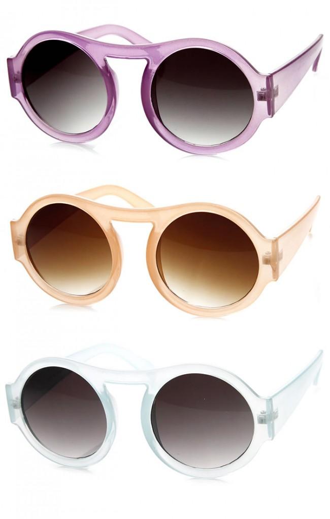 daf93579b Thick Bold Round Circle Pastel Frame Oversized Sunglasses. Zoom