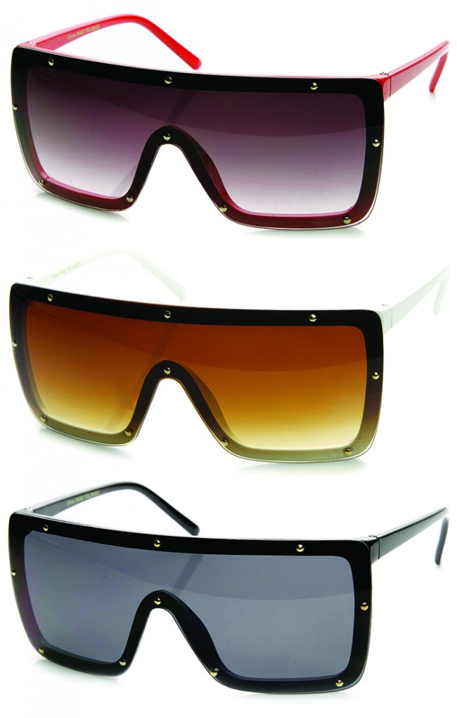 3a1846233ee Modern Fashion Oversized Square Studded Shield Sunglasses. Zoom