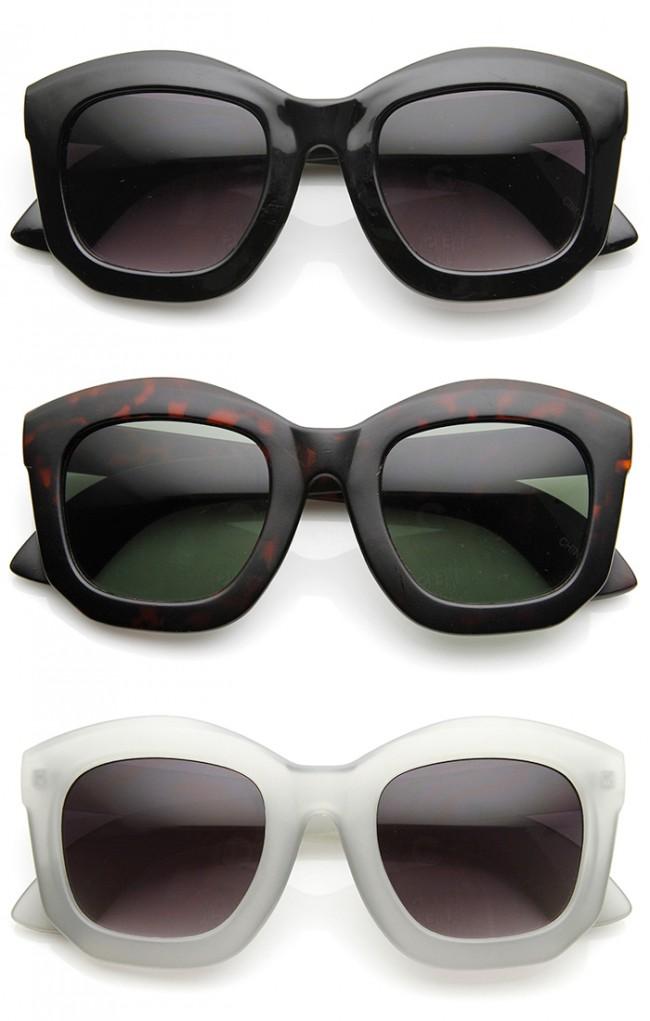 Oversized Thick Frame Angled Edge Horn Rimmed Sunglasses