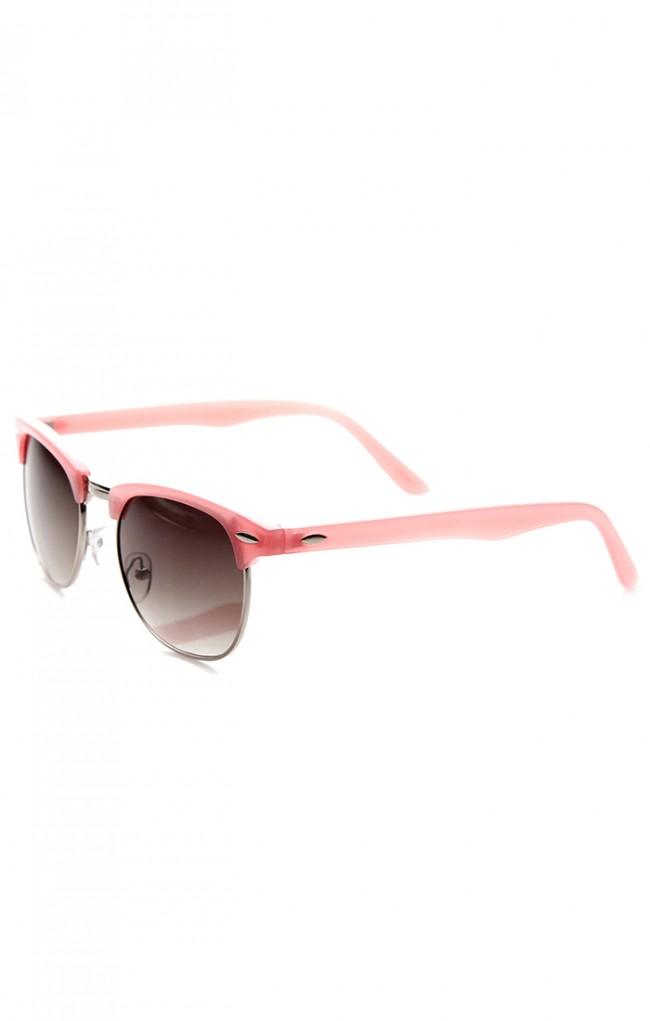 Rimless Glasses Vs Rimmed : Pastel Color Semi-Rimless Half Frame Horn Rimmed Sunglasses