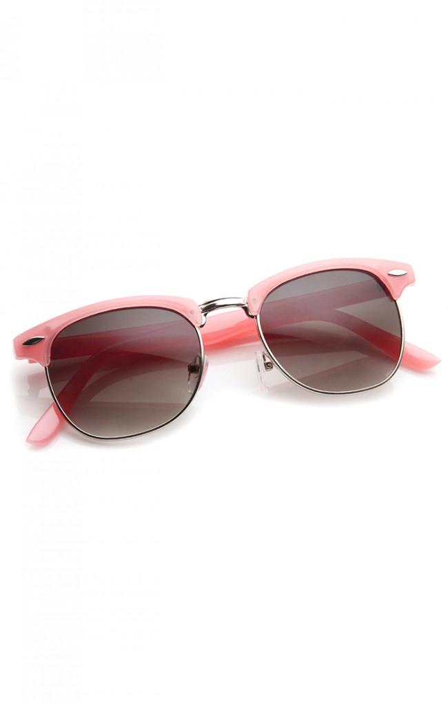 0c614c1e89 Pastel Color Semi-Rimless Half Frame Horn Rimmed Sunglasses. Zoom