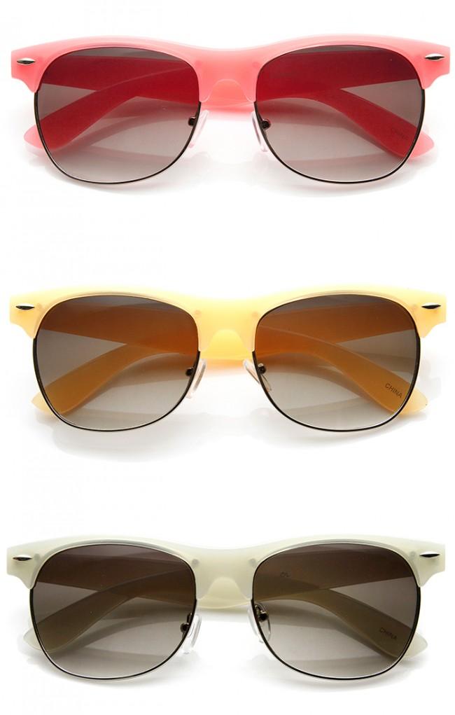 89a63c0e5e Pastel Color Semi-Rimless Half Frame Classic Horn Rimmed Sunglasses · Zoom