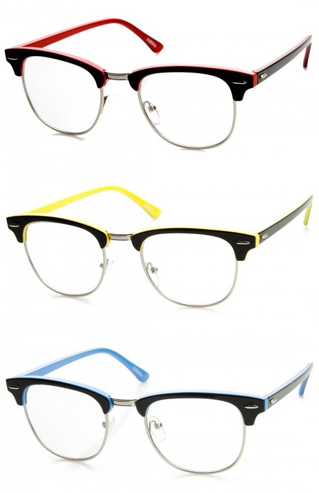 Two-Tone Colorful Half Frame Clear Lens Horn Rimmed Eyeglasses