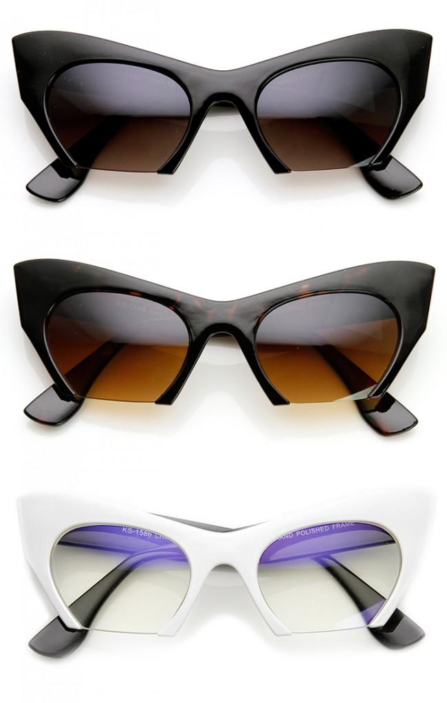 Women\'s Fashion Semi-Rimless Bottom Cut Cat Eye Sunglasses