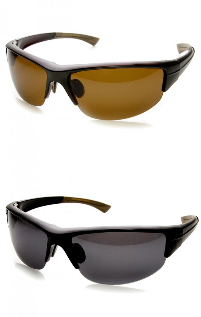 Rimless Sports Glasses : Polarized TAC Lens Semi-Rimless Action Sports Sunglasses