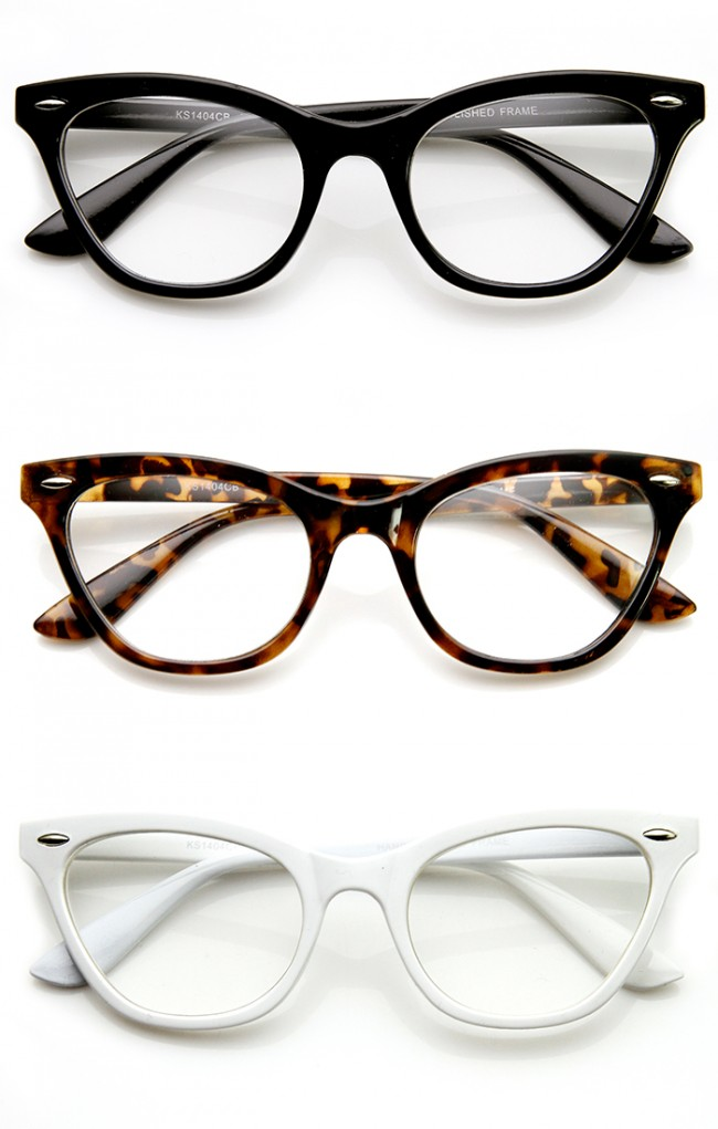 Clear Lens Glasses Cat Eye