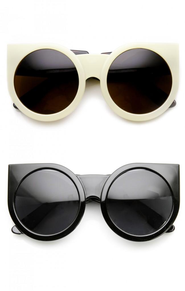 3080a0917 Womens Oversized Super Bold Round Cat Eye Sunglasses
