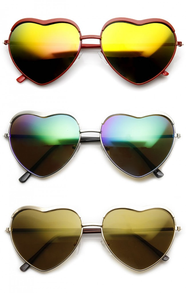 6e801619376 Womens Fashion Metal Heart Shaped Color Mirror Sunglasses