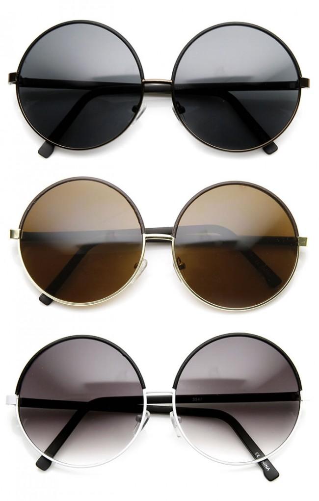 acd802edd4f5 Womens Oversized Two-Tone Glam Metal Circle Round Sunglasses