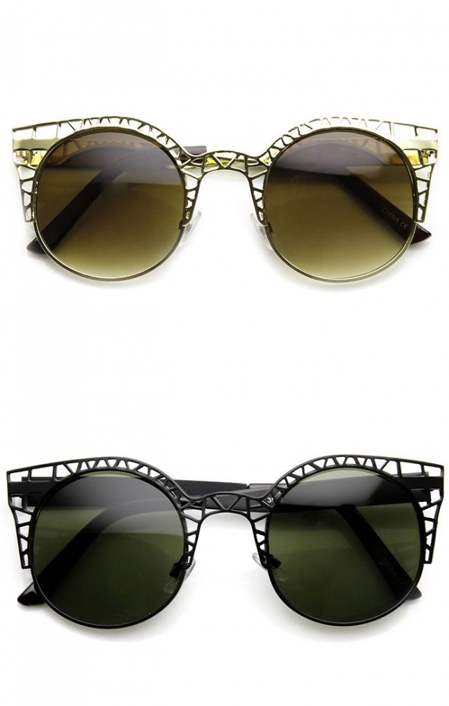 62b95c7f258b High Fashion Metal Cut Out Hollow Out Frame Round Cat Eye Sunglasses