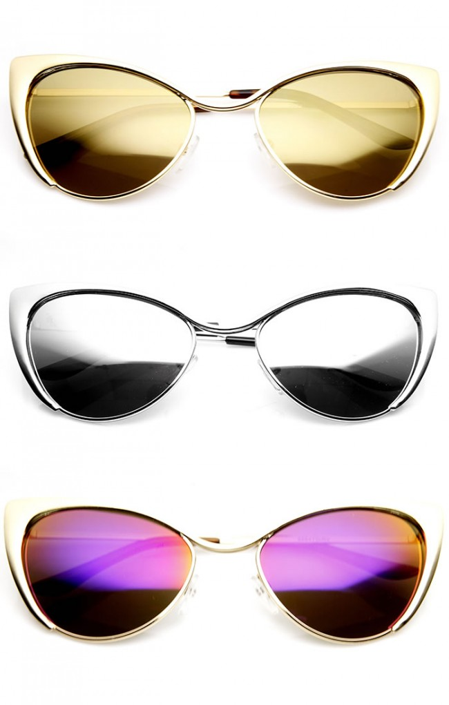 44be3c409 Womens Fashion Full Metal Color Mirrored Lens Cat Eye Sunglasses