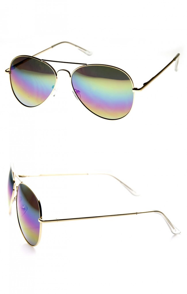 04d6bf666c4a8 Classic Metal Tear Drop Rainbow Mirrored Lens Aviator Sunglasses. Zoom