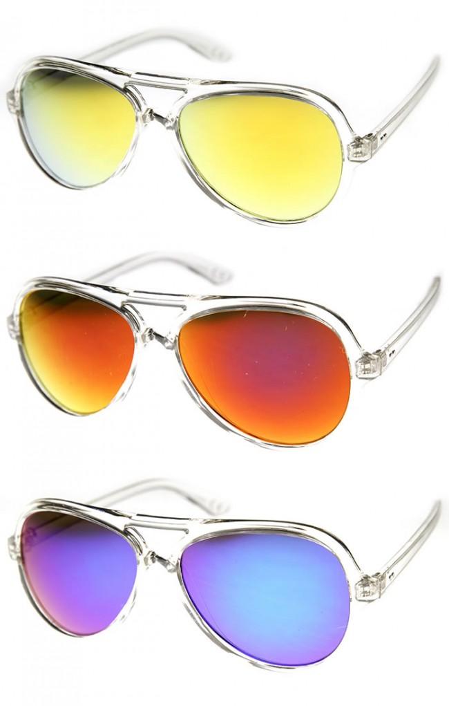 dbc68395d8f Crystal Clear Frame Teardrop Flash Mirror Color Lens Aviator Sunglasses.  Zoom