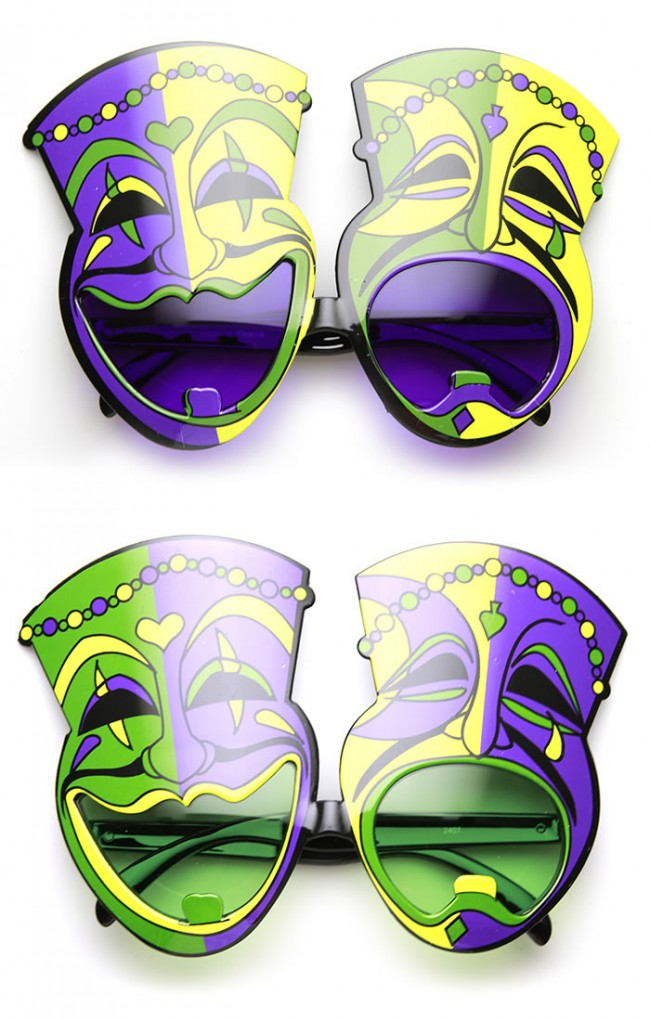 Mardi Gras Laugh Now Cry Later Comedy Festival Mask Sunglasses