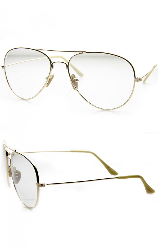 4906a21551d Nickel Plated Tear Drop Wire Frame Basic Metal Clear Lens Aviator Glasses.  Zoom