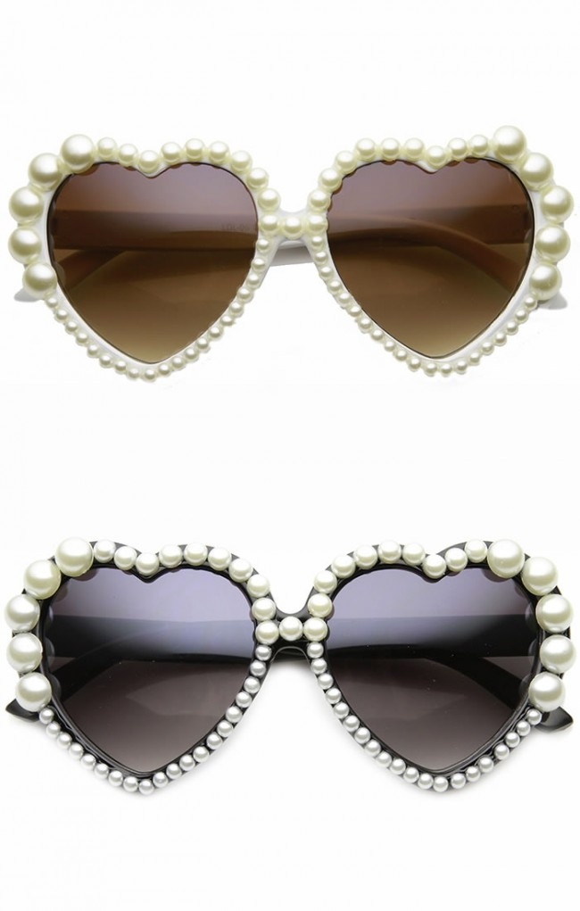 Womens Oversized Full Pearl Decorated Frame Heart Shaped Sunglasses