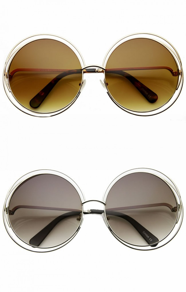 Women\'s Oversized Full Metal Wire Frame Glamour Round Sunglasses