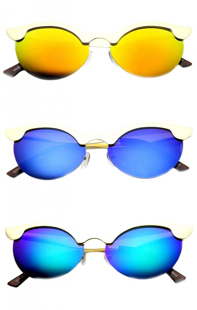 b6693aa9d87 Womens Semi-Rimless Cateye Flash Mirror Sunglasses · Zoom