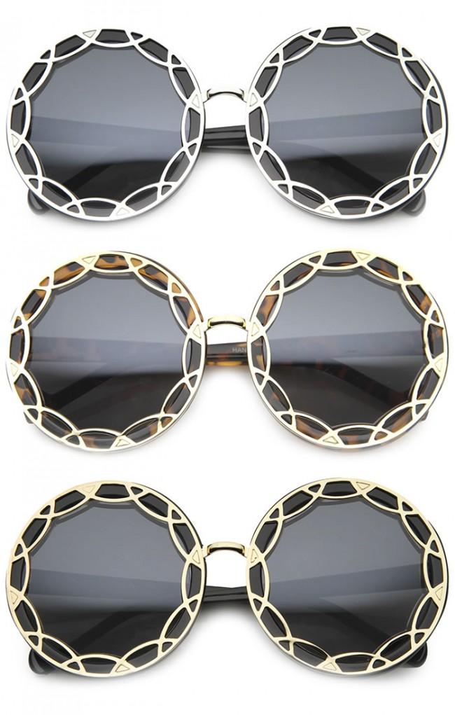 52a3d966ebc14 Art Deco Round Fashion Oversized Layered Designer Sunglasses · Zoom