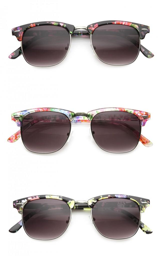 90962eff53784 Women s Floral Pattern Square Half-Frame Horn Rimmed Sunglasses