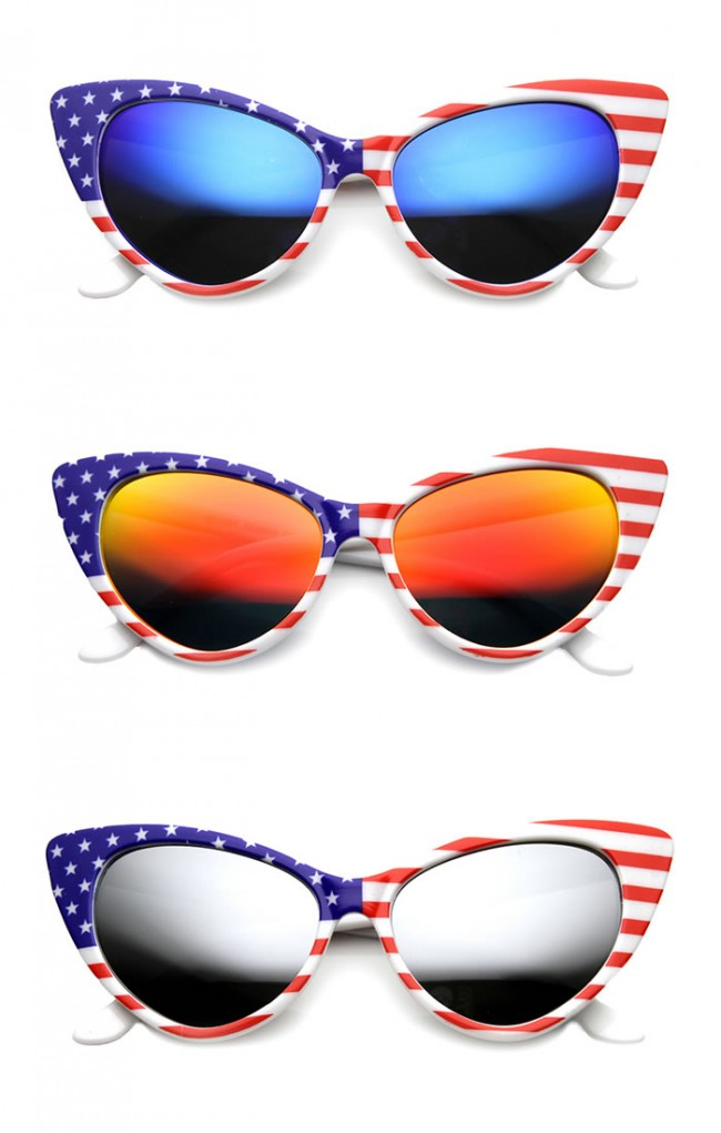 711261de79d American Flag Patriotic Stars and Stripes Flash Mirrored Super Cat Eye  Sunglasses. Zoom