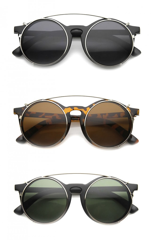 8767ac1ae95 Mens Round Sunglasses With UV400 Protected Composite Lens · Zoom