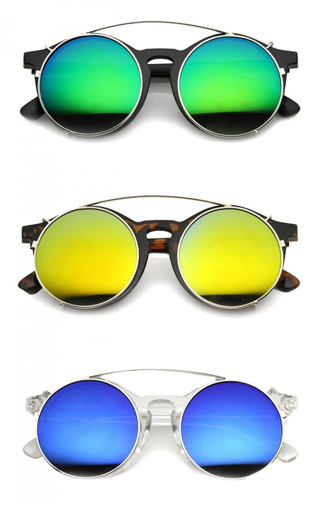 6c2b32fe783 Mens Round Sunglasses With UV400 Protected Mirrored Lens. Zoom