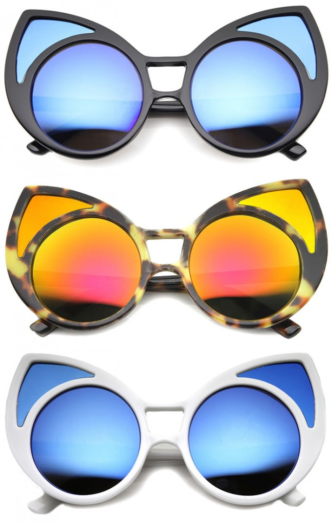 c4d2db42e95 Womens Cat Eye Sunglasses With UV400 Protected Mirrored Lens
