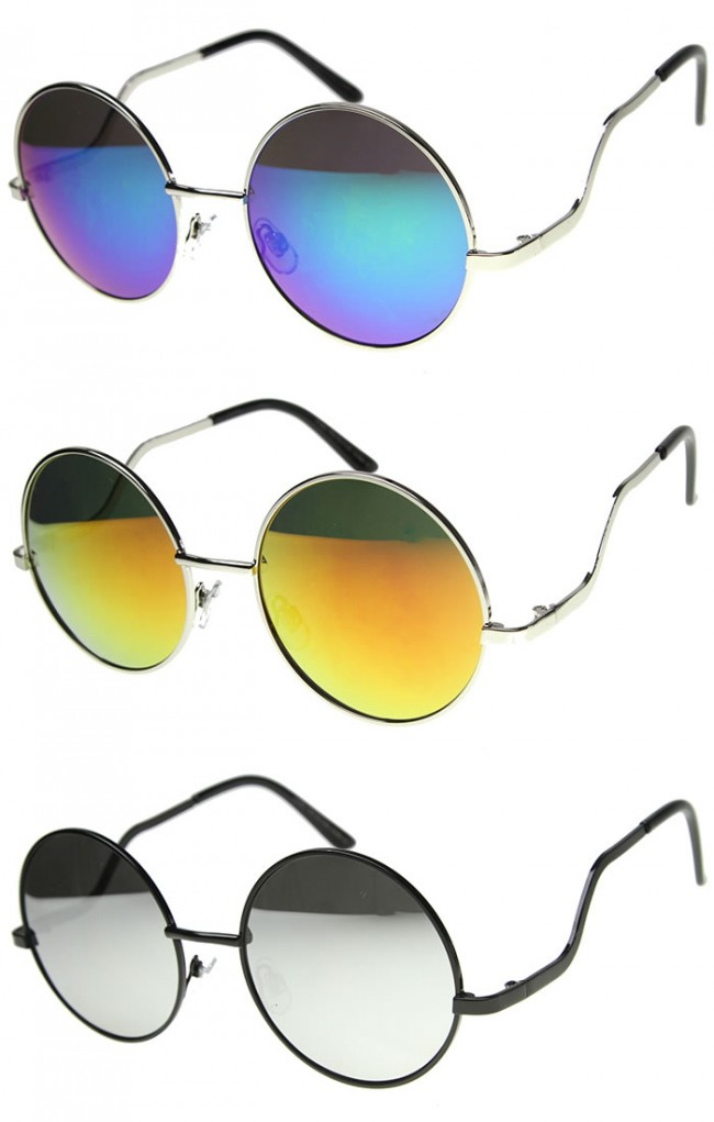 a555c23059e Womens Metal Round Sunglasses With UV400 Protected Mirrored Lens. Zoom