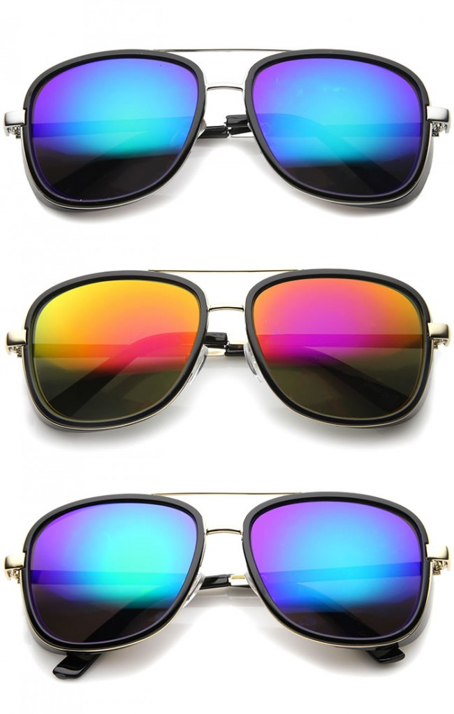 804299d6777 Mens Aviator Sunglasses With UV400 Protected Mirrored Lens · Zoom