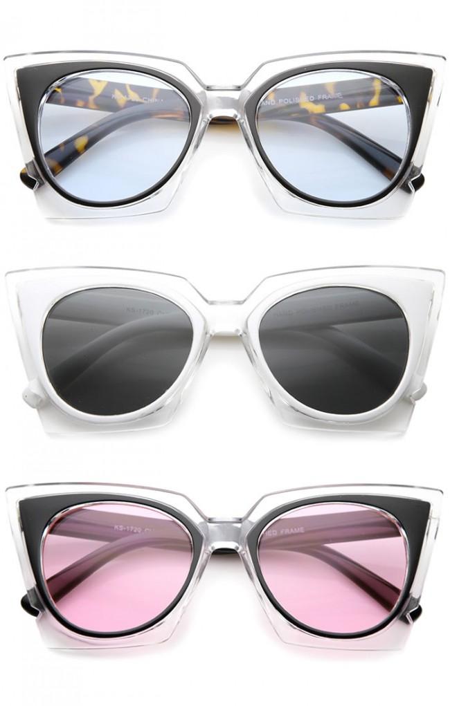 0b9fc311b5 Women s Fashion Two-Tone Crystal Clear Edged Cat Eye Sunglasses ...