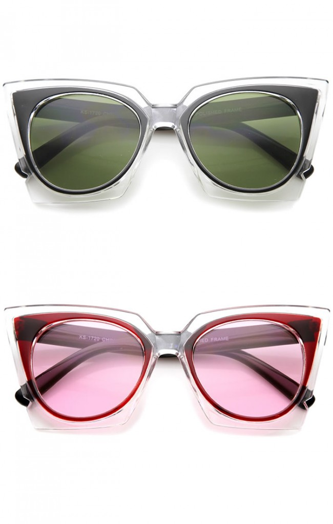 8f193bc11d Women s Fashion Two-Tone Crystal Clear Edged Cat Eye Sunglasses 51mm