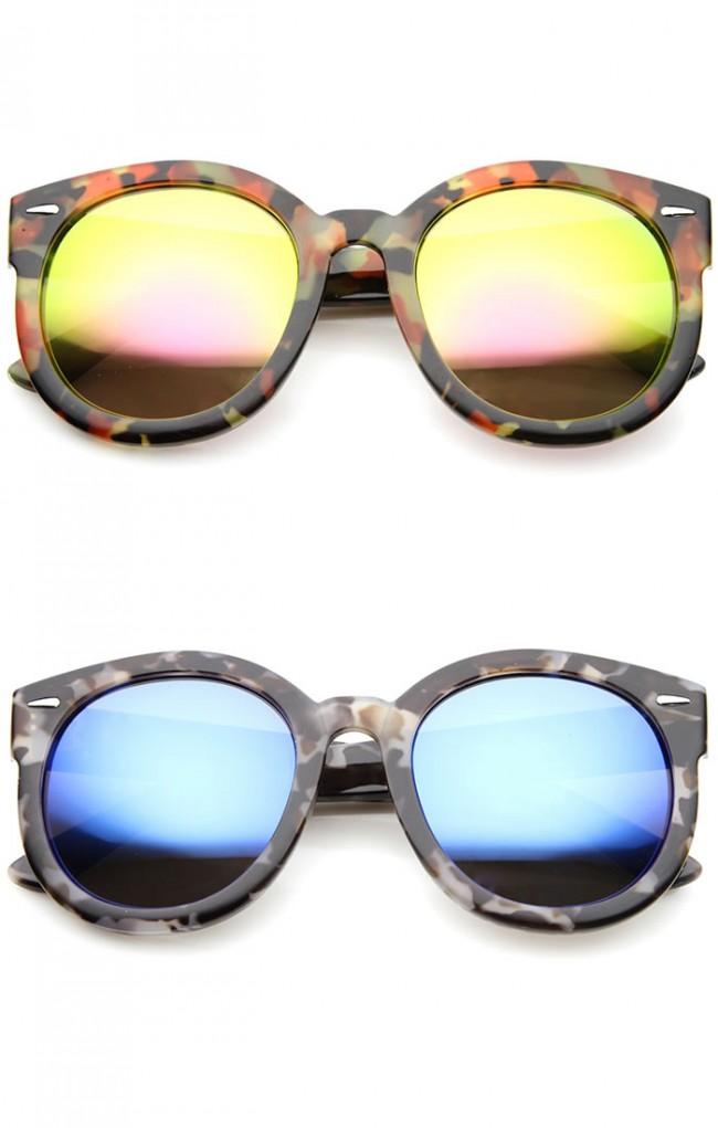 Modern Block Tortoise Thick Frame Mirror Lens Oversize Round ...