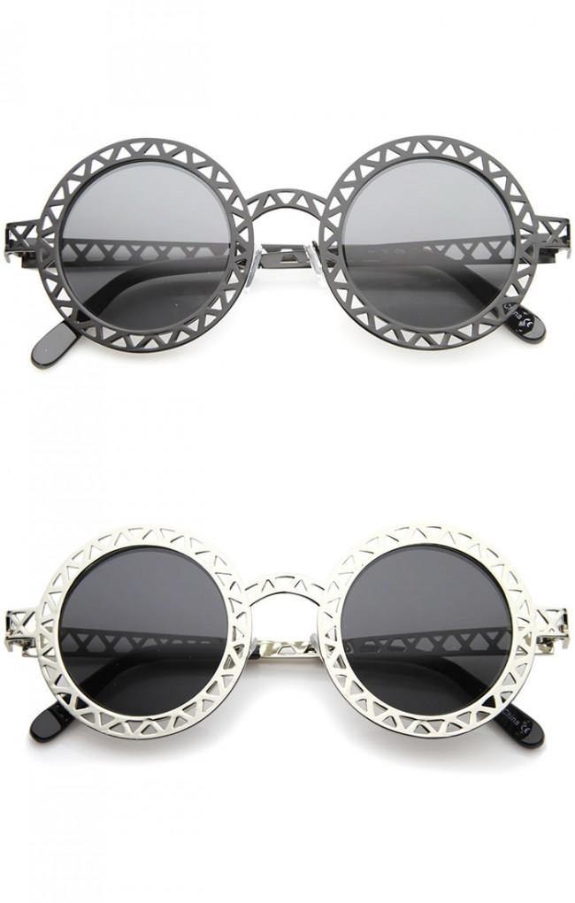 7d33d37d1e24 Retro Metal Cutout Frame Laser Cut Round Sunglasses 44mm · Zoom