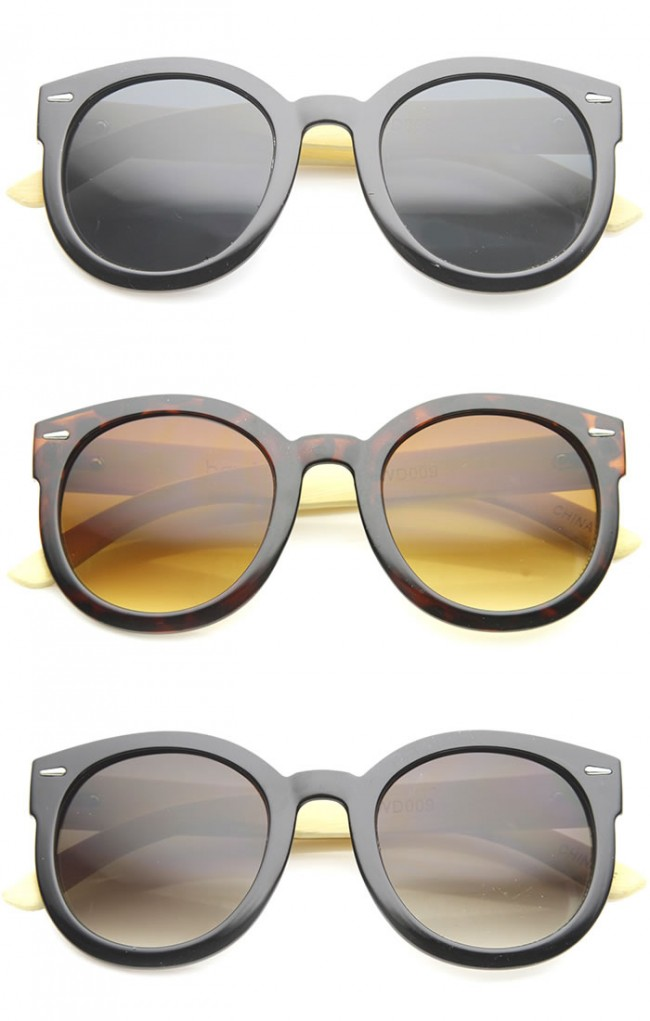 2d5db0c796 Eco-Friendly Genuine Bamboo Temples Oversize Round Sunglasses 53mm. Zoom