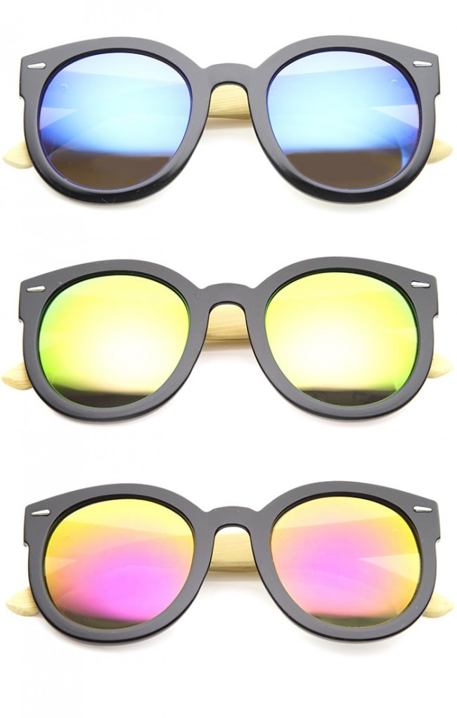 ef242a4575 Eco-Friendly Real Bamboo Temples Mirrored Lens Round Sunglasses 53mm. Zoom