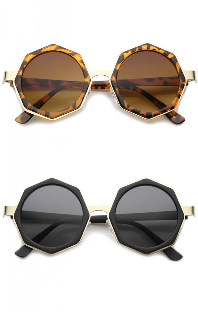 Women\'s High Fashion Oversize Octagon Geometric Frame Round ...
