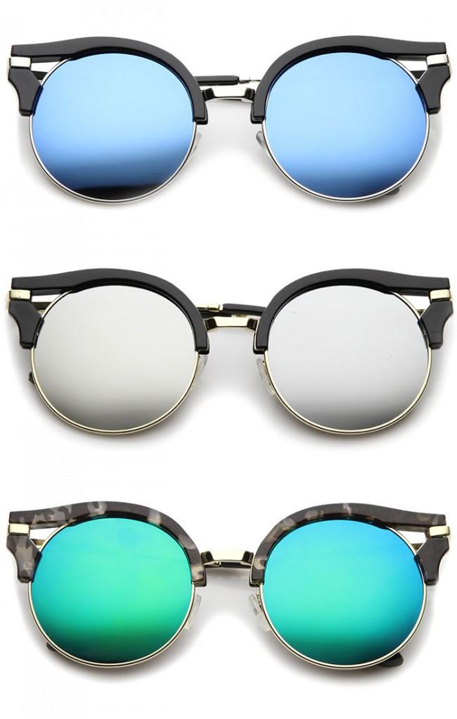 f8ff72924ab21 Round Half-Frame Cutout Color Mirror Flat Lens Cat Eye Sunglasses 56mm. Zoom