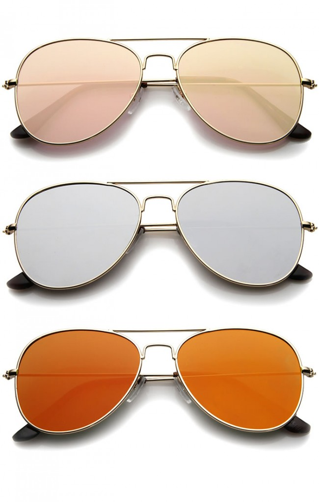 cf38a3364 Classic Double Bridge Colored Mirror Flat Lens Aviator Sunglasses 55mm. Zoom