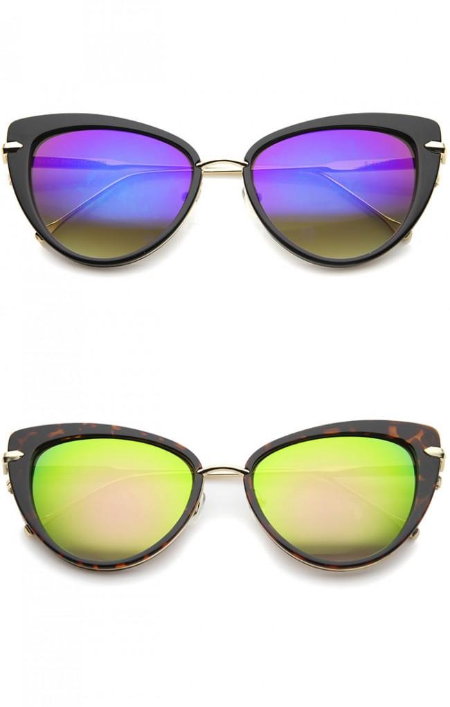 b5a81c7c43f Women s High Fashion Metal Temple Super Cat Eye Sunglasses 55mm