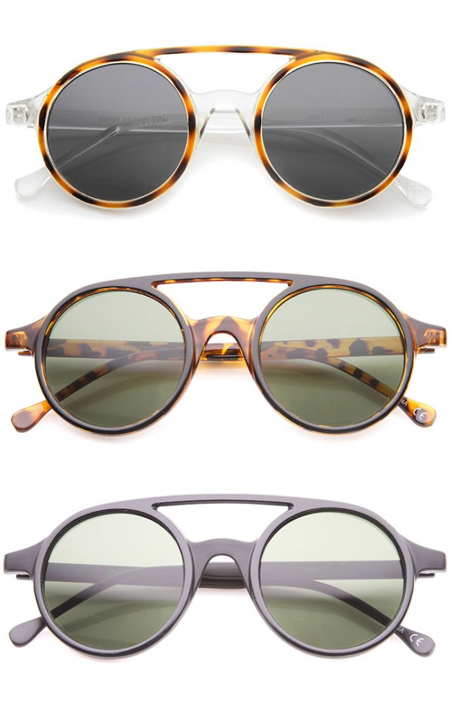 f0d81e4f329 Retro Fashion Dapper Double Bridge Round Lens Aviator Sunglasses 47mm. Zoom