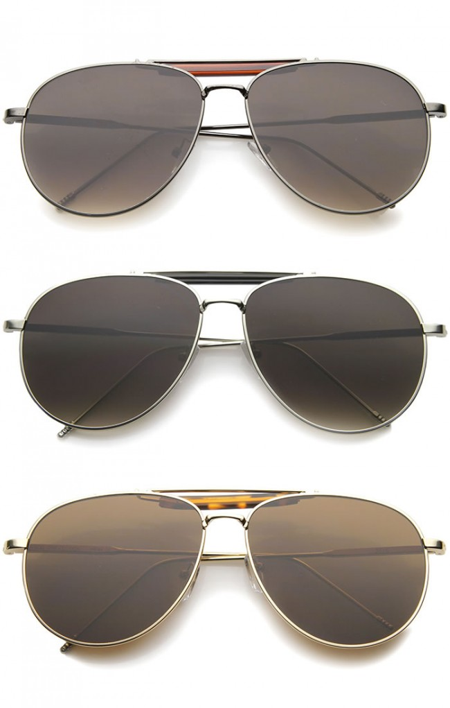 0678bede9 Classic Retro Metal Wire Teardrop Flat Lens Crossbar Aviator Sunglasses ·  Zoom