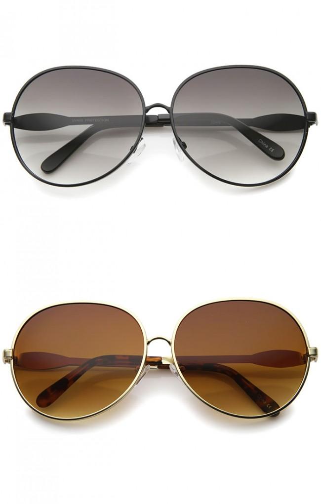 Womens Glam Full Metal Frame Oversized Round Sunglasses 63mm
