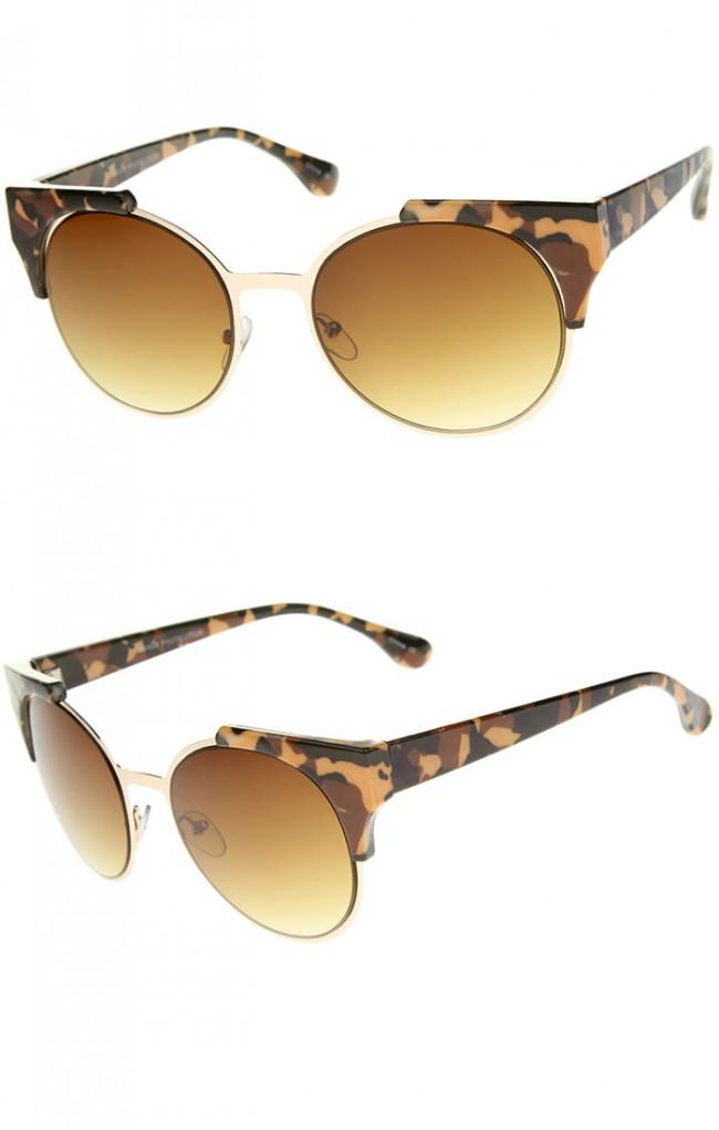 Rimless Glasses Vs Rimmed : Modern Semi-Rimless Corner Horn Rimmed Round Sunglasses 53mm