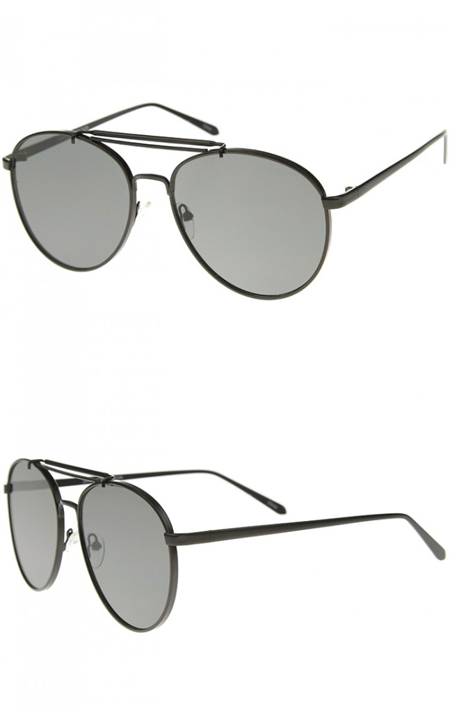 38f3e1ba3f37a Large Metal Teardrop Double Bridge Flat Lens Aviator Sunglasses 60mm. Zoom