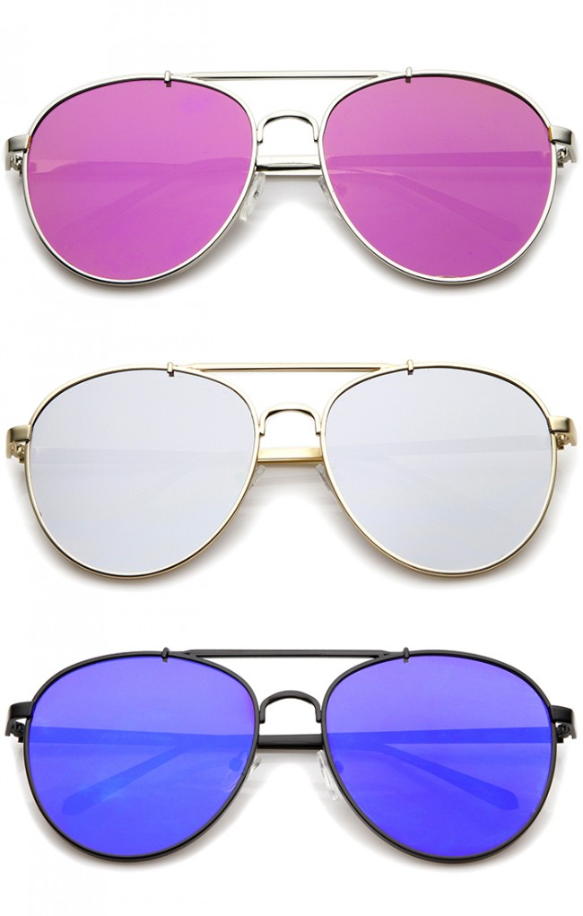 60132e481c70d Large Metal Teardrop Double Bridge Mirrored Flat Lens Aviator Sunglasses  60mm · Zoom